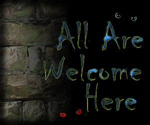 All Are Welcome, black background