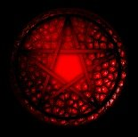 Red Pentacle, black background